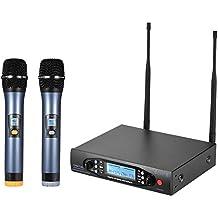 ammoon Ricevitore Display Canali Dual LCD Sistema Mic Microfono Palmare Wireless Professionale UHF Digitale 2 Microfoni per La Festa di Incontro Palco del Karaoke