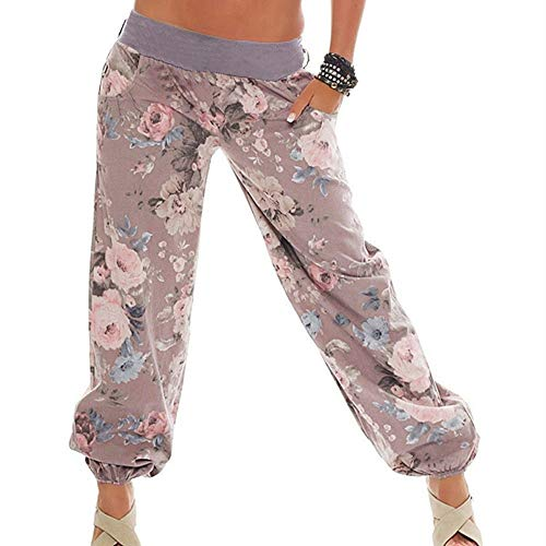 WOZOW Yoga Hosen Damen Boho Blumenmuster Floral Flowers Print Druck Hippie Loose Lose Lang Long Casual Low Waist Riemchen Aladdin Indian Übergröße Plus Size Trousers Stoffhose (5XL,Khaki) Plus Size Velvet Jacke