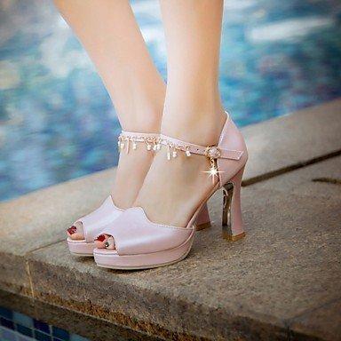 LvYuan Da donna Sandali Finta pelle PU (Poliuretano) Estate Autunno Footing Fibbia Quadrato Bianco Blu Rosa 7,5 - 9,5 cm White