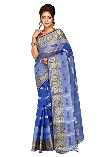 Badal Textile Cotton Saree, Traditional Bengali Wear (Deep Blue)