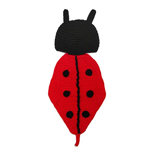 Einzelhändler Kostüm - WESEEDOO Newborn Fotoshooting Stricken Stützen-Hüte Käfer Kostüme Süße Häkeln Sie Baby Fotoshooting red Black