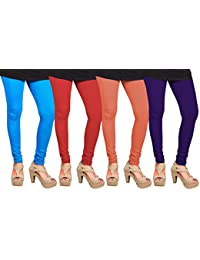 CAY 100% Cotton Combo of Purple, Red, Orange and SkyBlue Color Plain, Stylish & Most Comfortable Leggings For Girls & Women with Full Length (SIZE : Free Size)