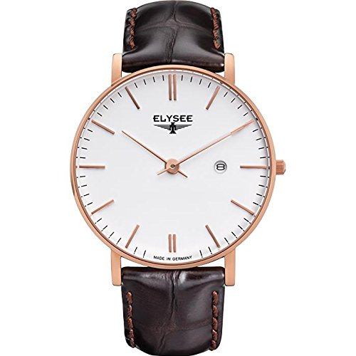 ELYSEE MEN'S ZELOS 40MM LEATHER BAND ROSE GOLD PLATED CASE QUARTZ WATCH 98004