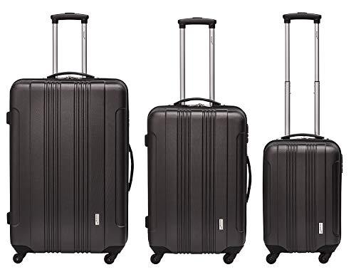 Packenger Kofferset - Torreto - 3-teilig (M, L & XL), Schwarz, 4 Rollen, Koffer mit Zahlenschloss, Hartschalenkoffer (ABS) robuster Trolley Reisekoffer