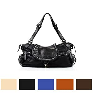 BACCINI Handtasche mit langen Henkeln GISELE - Schultertasche - Damentasche in lässiger Gaucho-Optik - echt Leder schwarz