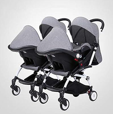 BABY CARRIAGE ZLMI Twin bebé Cochecito Ligero Plegable portátil Plegable Cesta BB Coche Puede Sentarse/reclinar de Dos vías Ajustable para 0-3 años de Edad,Gray#2