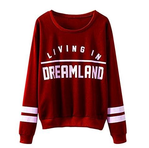 Tonsee Sweatshirts, Femmes Lettres Imprimé col rond couverture Blouse (XL, Rouge)