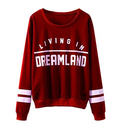 Tonsee Sweatshirts, Femmes Lettres Imprimé col rond couverture Blouse (M, Rouge)