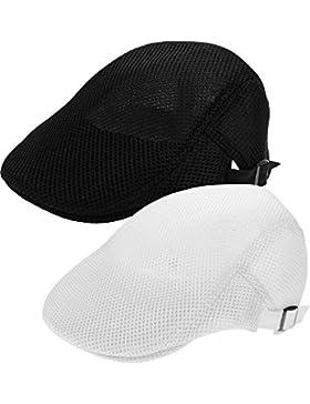 Jovitec 2 Piezas de Sombrero de Verano de Malla Respirable Gorra de Hombre Sombrero de Caza Vendedor de Periódicos...
