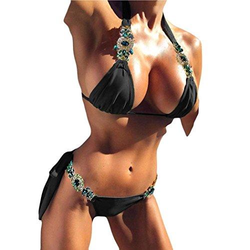 Shinely Damen Bikini Niedrige Taille Tie Seite Stein Strass Bademode Tief V-Ausschnitt Neckholder Badeanzug Rückenverschluss Sexy Triangel Gepolstert Push Up Tankini (schwarz, S) - Schwarz Strass Badeanzug
