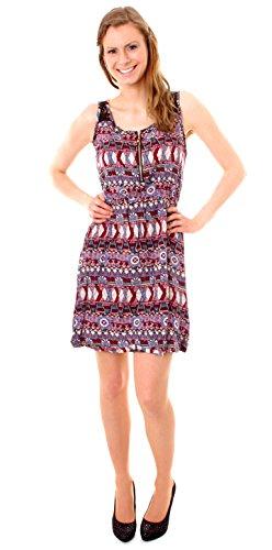 Easy Young Fashion Damen Kleid kurz gemustertes Sommerkleid Trägerkleid mit  Spitze Ethno bordeaux lila 7d41131a90