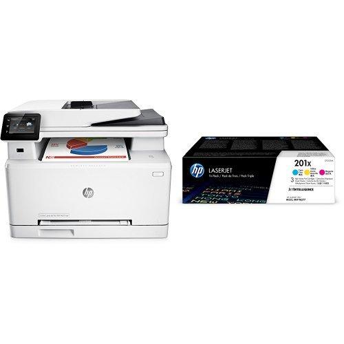 HP Color LaserJet Pro M277dw Farblaserdrucker Multifunktionsgerät (Drucker, Scanner, Kopierer, Fax, WLAN, LAN, Duplex, HP ePrint, Airprint USB, 600 x 600 dpi) weiß  mit passenden Original Tonern