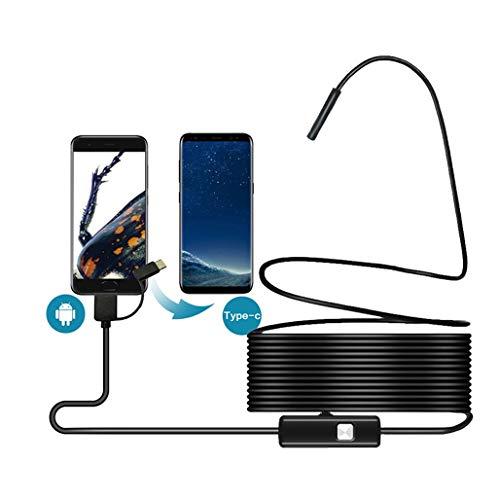 HWENJ Wärmebildkamera Inspektionskamera USB Android Endoskop Type-C 3in1 Kamera 7mm HD wasserdichte Schlangenkamera Mit 6 Led Für Windows MacBook PC Android Endoskop 5M Kabel