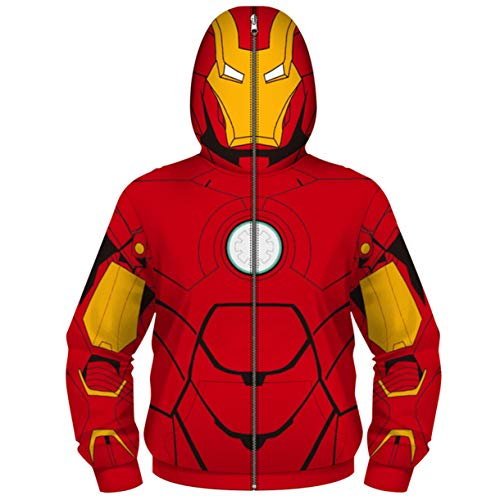 Iron Man Captain America Zip Up Jungen Kapuzenpullover Hoodie Sweatshirt Mantel Reißverschluss Jacke Digitales Drucken Maskierte Oberteile Cosplay 4-13 Jahre -