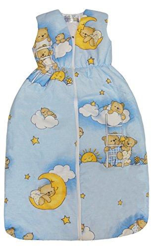 BOMIO Schlafsack Baby ganzjahres/ganzjährig | Baby- und Kleinkinder-Schlafsack | sicherer komfortabler Schlaf | 100% Baumwolle Oeko-Tex zertifiziert | (Bärchen (Hellblau), 70 cm (0-6 Monate))