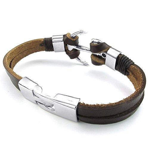 Mendino Armband, handgefertigt, Legierung/Leder, Anker, Biker-Stil