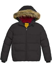 0905f0b60a710 Wantdo Fille Manteau Matelassé Veste d hiver Puffer Blouson à Capuche en  Fourrure avec Doublure