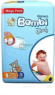 Sanita Bambi Baby Diapers Mega Pack Size 5, X-Large, 12-22 KG, 74 Count