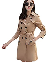 88622a922d21 Elonglin Femme Trench Mi-Long Manteau Parkas Coat Col Revers Double  Boutonnage Chaud Gabardine Outwear