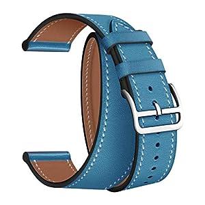 FBGood Einfarbig Doppelt Lederband Ersatz Uhrenarmband, Unisex Smart Watch Zubehör Freizeit Geschäft Armband Weich Leder Ersatzband Universal Sportarmband für Apple Watch 1234 42/44mm