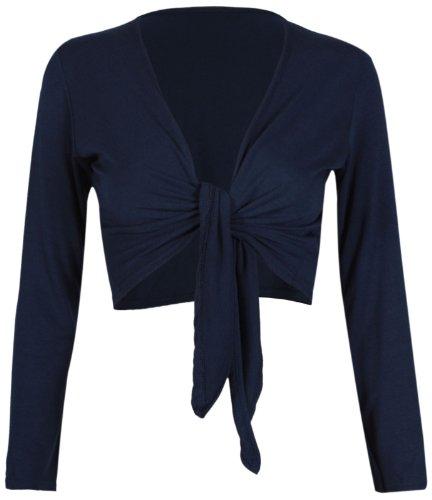 Purple Hanger da Donna, Lunga Lunghe da Donna Elasticizzato Bolero Cardigan Tagliato Avanti Nodo di Cravatta Top spallucce Blu navy