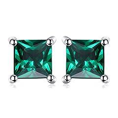 Idea Regalo - JewelryPalace Quadrata 0.6ct Artificiale Russo Verde Nano Smeraldo 925 Sterling Argento Stud Orecchini