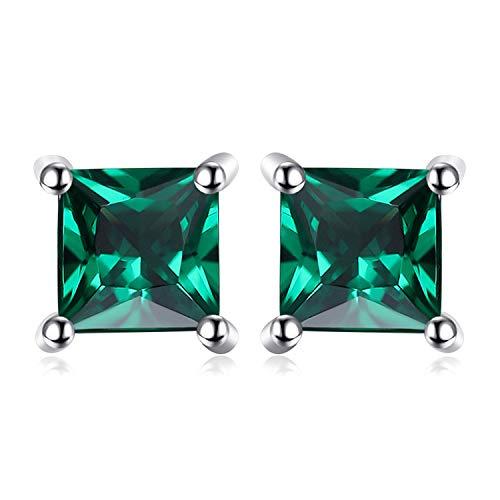 JewelryPalace Quadrata 0.6ct Artificiale Russo Verde Nano Smeraldo 925 Sterling Argento Stud Orecchini