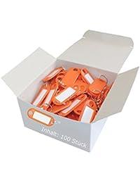 Wedo 262801806 Llavero con anillo de plástico, etiquetas intercambiables, 100 piezas de color naranja,