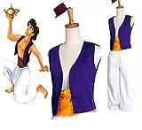 thematys Ensemble Costume Aladdin 3 pièces pour Homme - Chapeau, Gilet et Pantalon Parfait pour Le Carnaval et Le Cosplay - Taille Unique 160-180cm