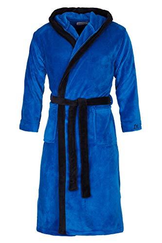 Di Ficchiano DF-15 Unisex Bademantel Blue Black Gr. XL - Satin Kleider Frauen Blue Für