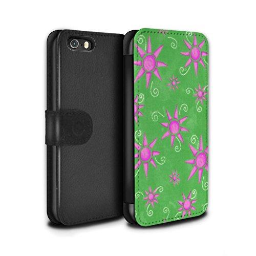 Stuff4 Coque/Etui/Housse Cuir PU Case/Cover pour Apple iPhone SE / Pack (14 pcs) Design / Motif Soleil Collection Vert/Rose