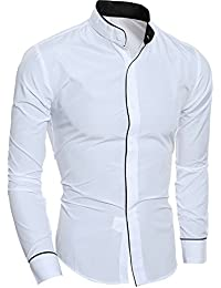BUSIM Men's Long Sleeve Shirt Fashion Personality Solid Color Casual Slim Lapel Button T-Shirt Top Trend Personality...