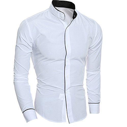 UJUNAOR Oktoberfest Mode Männer Langarm T-Shirt Stehkragen Bluse Top Slim Fit Herbst 2018(Weiß,CN M)