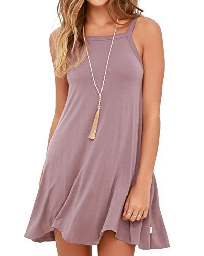 YOINS Sommerkleid Damen Tunika Tshirt Kleid Bluse Kurzarm MiniKleid Boho Maxikleid Rundhals (Ärmellos-Rosa, EU36-38) (T-shirt Rosa Frauen Kleid)