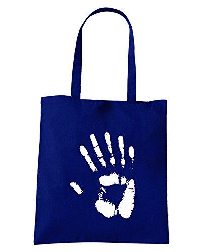 T-Shirtshock - Borsa Shopping OLDENG00302 6 fingered hand print hoodie dark (1) Blu Navy