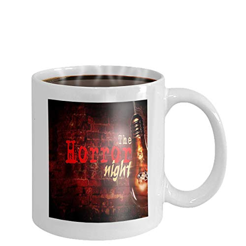 Coffee cup mug cinema horror night background bulb brick wall background horror night bulb 11oz