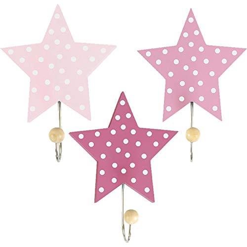 LS-LebenStil Kinder Kleiderhaken Set 3 Sterne Rot Rosa 11x11x15cm Wandhaken Garderobe -