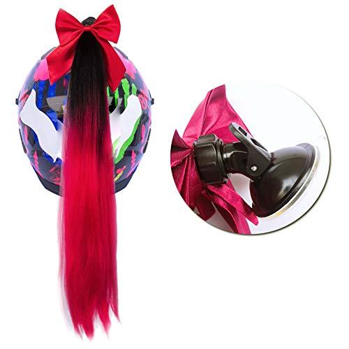 3T-SISTER Bowknot Helm geflochtener Pferdeschwanz Motorrad Fahrrad Helm Haar Flauschige Haarteile für Erwachsene/Rot