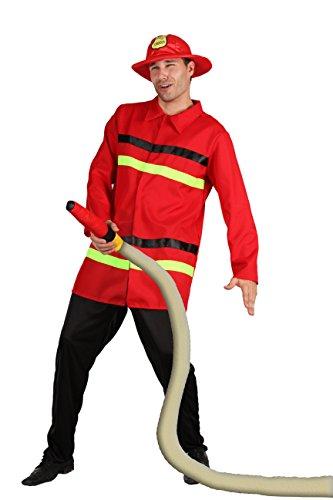 Blumen Paolo-Feuerwehrmann Kostüm Erwachsene Mens, Rot, Größe 52-54, 62091 (Feuerwehrmann Kostüm Für Erwachsene)