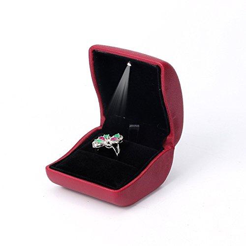 (Lily Treacy PU Leder Ring Box, Fall, mit beleuchtet für Vorschlag, Verlobung, Hochzeit, Ohrringe, Medaille, Schmuck, Geschenk, dunkelrot, 3