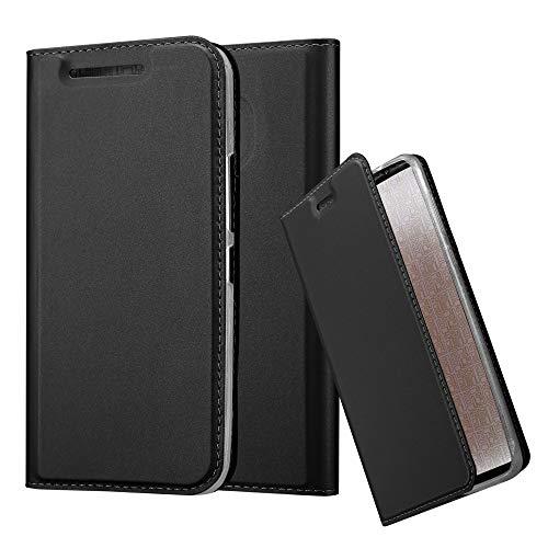 Cadorabo Hülle für HTC One M9 - Hülle in SCHWARZ – Handyhülle mit Standfunktion & Kartenfach im Metallic Erscheinungsbild - Case Cover Schutzhülle Etui Tasche Book Klapp Style