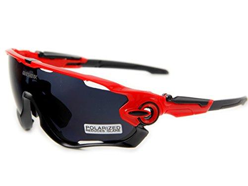 Queshark Fahrradbrille Sport Sonnenbrille für Herren und Damen Polarisierte, Sportbrille mit 3 Wechselobjektiven und Frauen Radsports - 3