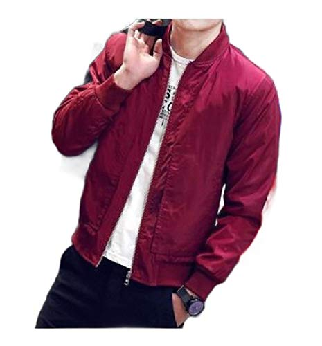 CuteRose Mens Pure Color Coat Jacket Stand-up Collar PEA Coat Jackets Red 3XL