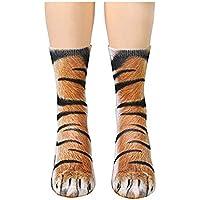 Ndier 1 par Creativo 3D Patas de los Animales impresión del patrón Calcetines Unisex Adulta Divertida algodón Crew Tigre Calcetines