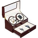 Klarstein Geneva - Caricaorologio, Scatola del Tempo, Scatola per Orologi, Capacitá 4 Orologi, 4 Modalità, Rotazione Oraria o