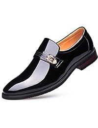 CYGG Traje De Negocios De Los Hombres Zapatos De Cuero Cuero Brillante Charol Zapatos Casuales De La Boda Banquete Zapatos De Vestir,Black,40