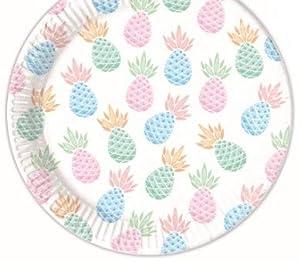 Procos - Paquete de 8 platos de cartón, piña pastel, 23 cm, talla única, multicolor, PR89210