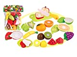 #7: Toyshine Realistic Sliceable 15 Pcs Fruits Cutting Play Toy Set, Can Be Cut in 2 Parts