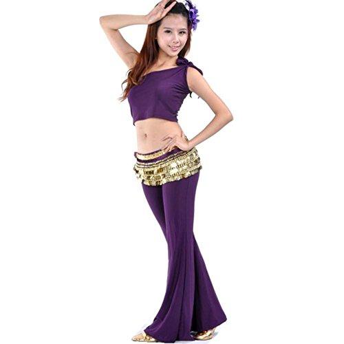 Byjia Frauen Bauchtanz Outfit Schulter Tops Praxis Hosen Kostüm Professionelle Performance Match Kleidung Set Deep Purple 2 (Tanz Kostüme Fringe Hose)
