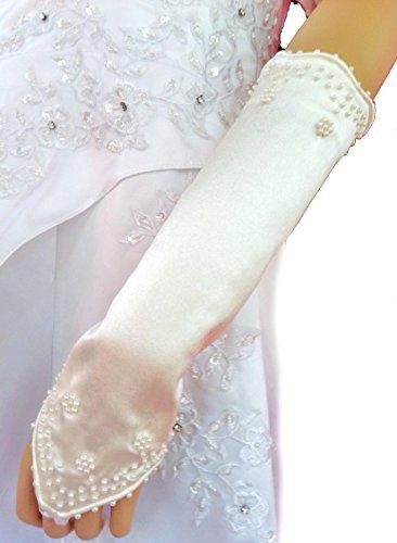 LadyMYP© Schöne Brauthandschuhe / Stulpen mit Perlen und Fingerschlaufe, fingerlos, weiß & ivory (hellcreme, elfenbein) 27 cm, (ivory (hellcreme))